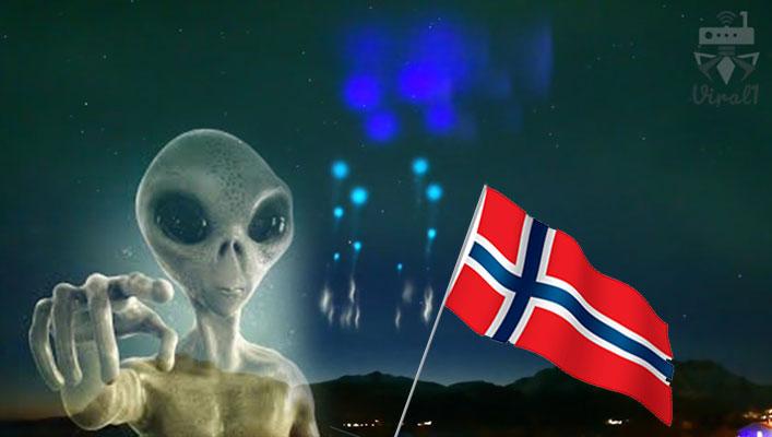 نورهای عجیب به شکل سفینه فضایی در آسمان نروژ و ارتباط آن با فرازمینی ها
